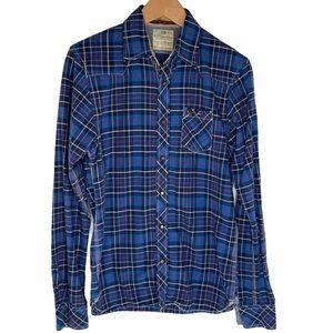 Scotch and Soda Men's Blue Plaid Button-Up Flannel